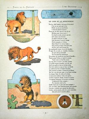 The lion and the gnat, illustration from 'Fables' by Jean de la Fontaine, 1906 edition by Rabier, Benjamin (1869-1939) (after)