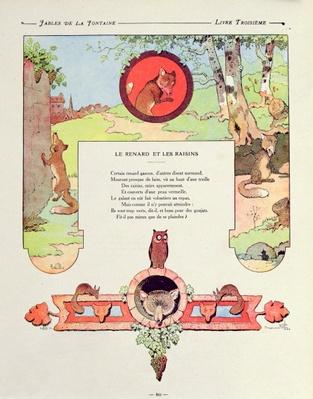 The fox and the grapes, illustration from 'Fables' by Jean de la Fontaine, 1906 edition