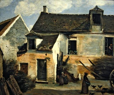 Courtyard of a bakery near Paris, or Courtyard of a House near Paris, c.1865-70