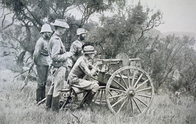 British machine-gun firing on Boers from ambush near Krantz Kloof