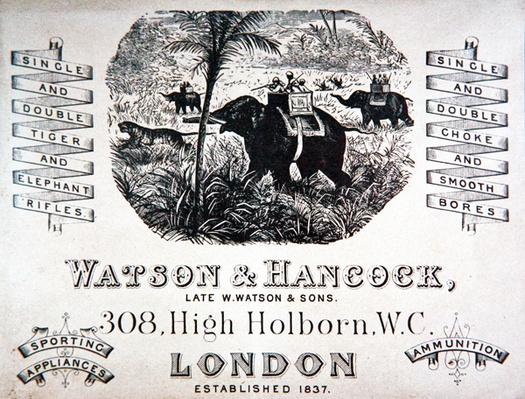 Advertisement for Watson & Hancock gunmakers, c.1900