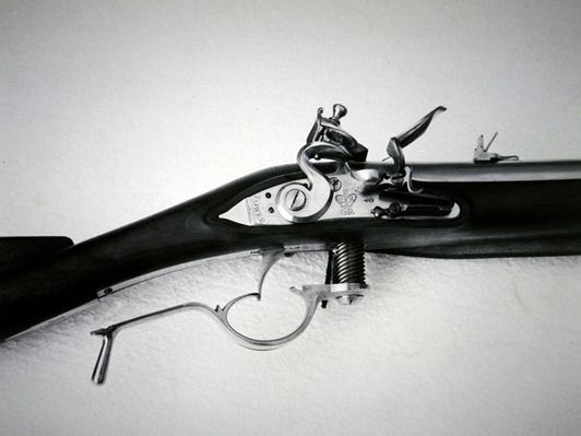 Modern replica of the Ferguson Rifle showing the screw breech lowered for loading