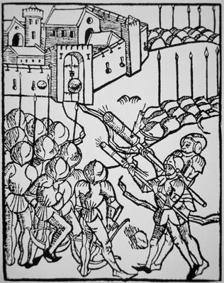 Use of handguns in the 15th century, illustration from the 'Rudicum Novitiorum', 1475