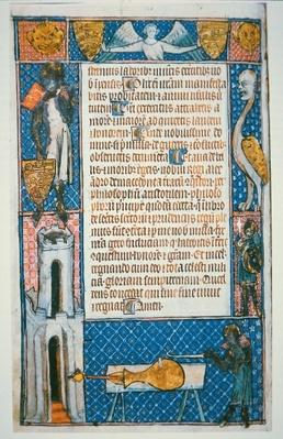 Earliest dated picture of a gun, folio from 'De Notabilitatibus, Sapientiis et Prudentiis Regum' by Walter de Milemete, 1326