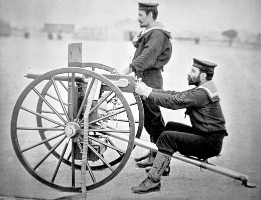 Maxim gun practice at Whale Island, Portsmouth: latest type of machine gun adopted by the Royal Navy, 1896