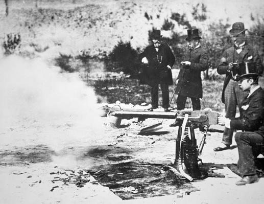 Testing the first Maxim machine gun, 1885