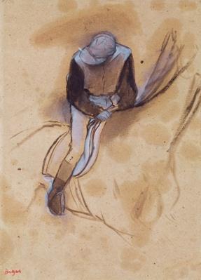 Jockey flexed forward standing in the saddle, 1860-90 by Degas, Edgar (1834-1917)