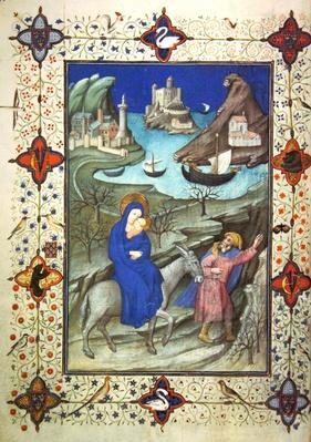 Ms 11060-61, Flight into Egypt, from 'Tres Belles Heures du duc de Berry', c.1409