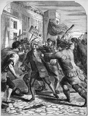 The 'No Popery' rioters attacking the Members of Parliament in Palace Yard