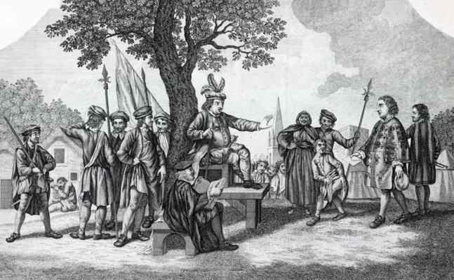 Robert Kett seated under the 'Tree of Reformation' receiving the King's messenger