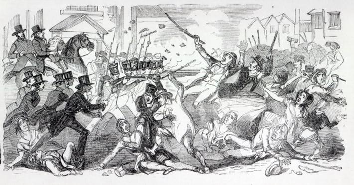 Plug Plot Riot in Preston, illustration from 'The Illustrated London News', August 1842