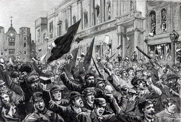 The Rioting in the West End of London, illustration from 'The Graphic', February 13th 1886