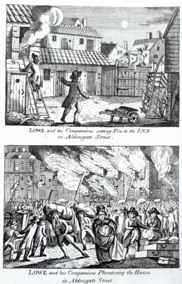 Edward Lowe and his companions setting fire to the inn on Aldersgate Street and plundering the houses, May 16th 1790