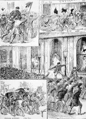 Great Riots in London, illustration from 'Pictorial News', February 20th 1886