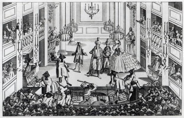 Riot at Covent Garden Theatre in 1763 in consequence of the Managers refusing to admit half-price in the Opera of Artaxerxes
