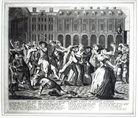 He and His Drunken Companions Raise a Riot in Covent Garden, from a pirated series based on Hogarth's 'A Rake's Progress', 1735