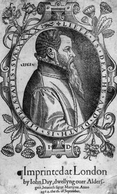 Portrait of John Day, frontispiece to Foxe's 'Book of Martyrs', 1564