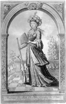 Elizabeth Charlotte of the Palatinate, Duchess of Orleans, in hunting costume, 1689