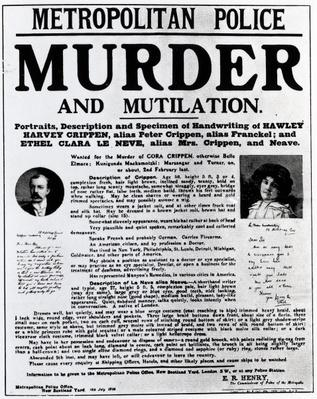 Poster requesting information leading to the arrest of Dr. Crippen, 1910
