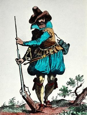 German soldier of the early 17th century, armed with matchlock musket