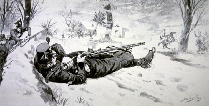 Tom PLunkett of the 95th Foot picks off French General Colbert with his Baker Rifle, during the retreat from Corunna in 1809