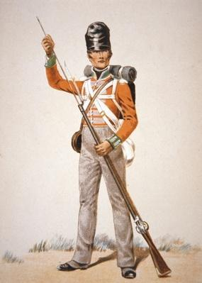 Wellington's Army: soldier of the 69th Foot loading his 'Brown Bess' musket in 1815