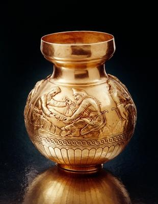 Bottle with ring base depicting Scythians engaged in various activities