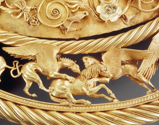 Griffins attacking a horse