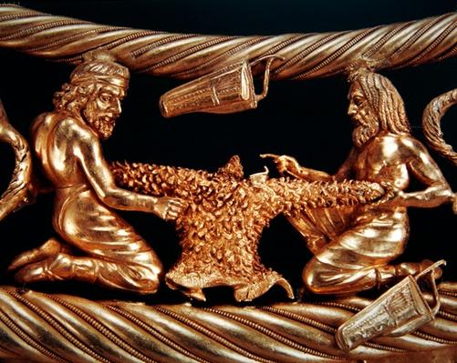 Two Scythians sew a shirt cut out of an animal skin