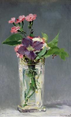 Pinks and Clematis in a Crystal Vase, c.1882