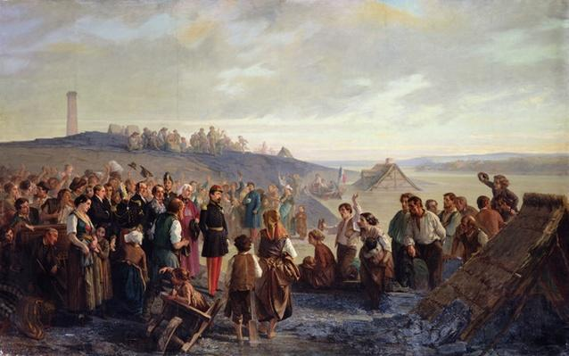 Napoleon III visiting the slate quarries of Angers, 1856