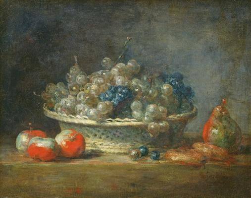 Still life: grape basket with three apples, a pear and two marzipans, 1764