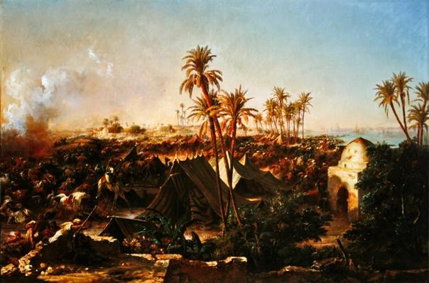 Battle with palm trees and tents