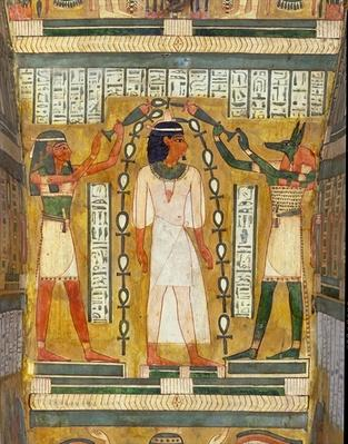 The Libation of the Dead, detail from the interior of the sarcophagus of Amenemipet, a priest of the cult of Amenophis