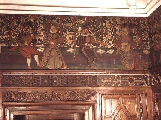 Portion of the painted freize in the Great Chamber, c.1575-85