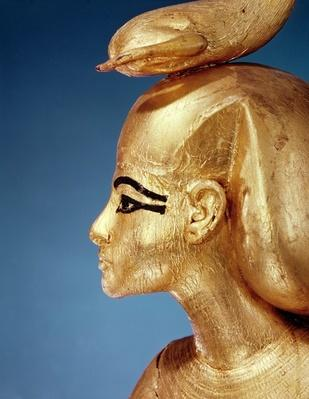 Detail of the goddess Selket from the canopic shrine, from the Tomb of Tutankhamun, New Kingdom