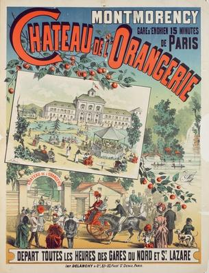 Travel poster advertising trips by train from Paris to the 'Chateau de l'Orangerie' at Montmorency, 1887 by French School, (19th century)