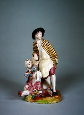 Sceaux manufacture statuette of a young cooper or blacksmith with his two daughters