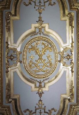 Interlaced Monogram of Louis XIV from the inside shutter of the King's Bedroom, c.1701
