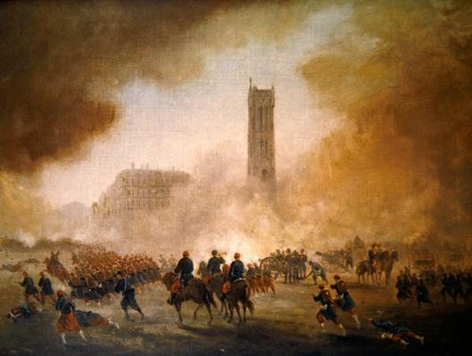 Paris Commune: fighting in front of the Tour Saint-Jacques, 1871