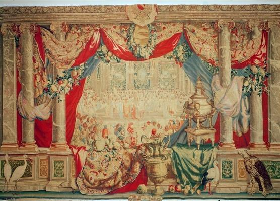 The Month of February, from the series of tapestries 'The Months or Royal Residences', produced in the Gobelins Workshop for Louis XIV