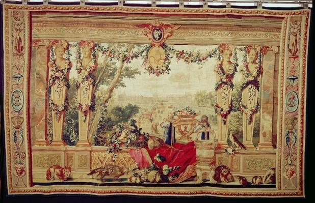 The Month of October/ Chateau of the Tuileries, from the series of tapestries 'The Months or Royal Residences', produced in the Gobelins Workshop for Louis XIV