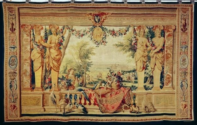The Month of July/ Chateau of Vincennes, from the series of tapestries 'The Months or Royal Residences', produced in the Gobelins Workshop for Louis XIV
