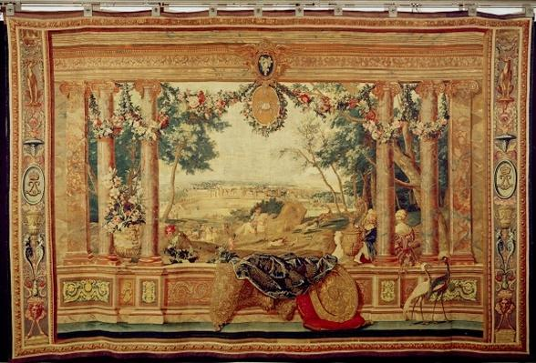 The Month of June/ Chateau of Fontainebleau, from the series of tapestries 'The Months or Royal Residences', produced in the Gobelins Workshop for Louis XIV