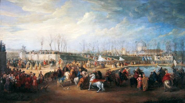 Mehemet Effendi, Turkish ambassador, arrives at the Tuileries on 21st March, 1721, after 1721