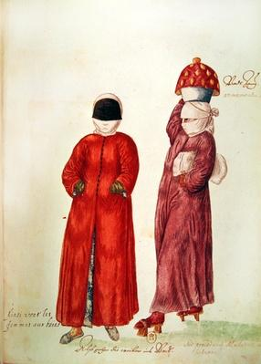 Customs and costumes of the eastern countries and differing states of dress - women going to bathe, 1513