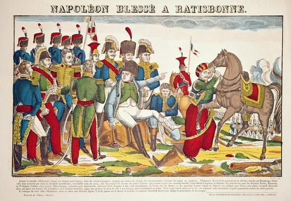 Napoleon wounded at Regensburg, after his victory at Eckmuhl, 22nd April, 1809