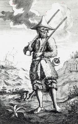 Frontispiece to 'The Life and Strange Surprizing Adventures of Robinson Crusoe of York, Mariner' by Daniel Defoe, 1719