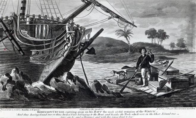 Robinson Crusoe carrying away on his raft the most useful remains of the wreck