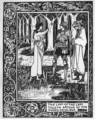 The Lady of the Lake telleth Arthur of the sword Excalibur, illustration from 'Le Morte d'Arthur' by Sir Thomas Malory, 1893-94